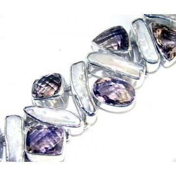 Bracelet with Biwa Pearl, Amethyst Faceted Gemstones