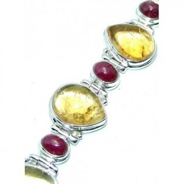 Bracelet with Golden Rutilated Quartz, Ruby Gemstones