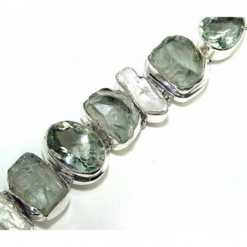 Bracelet with Green Amethyst, Gemstone Rough Gemstones
