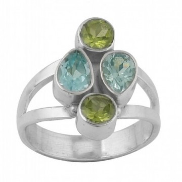 Elegant style Peridot & Blue Topaz Gemstone Ring