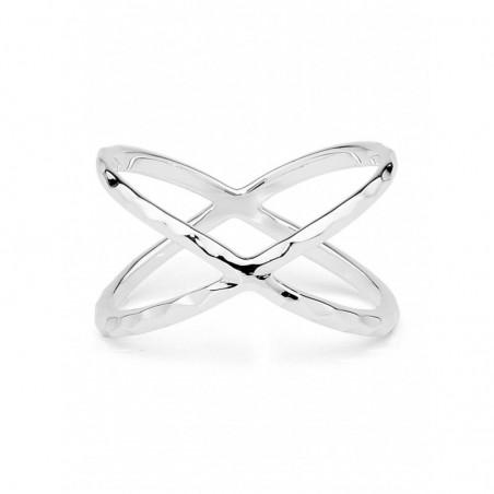 Elegant style Hammered Cross Ring
