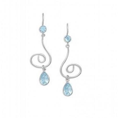 Handcrafted Blue Topaz Gemstone Dangle Drop Earrings