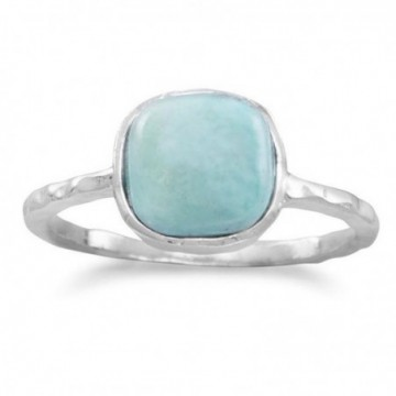 Elegant style Hammered Larimar Gemstone Ring
