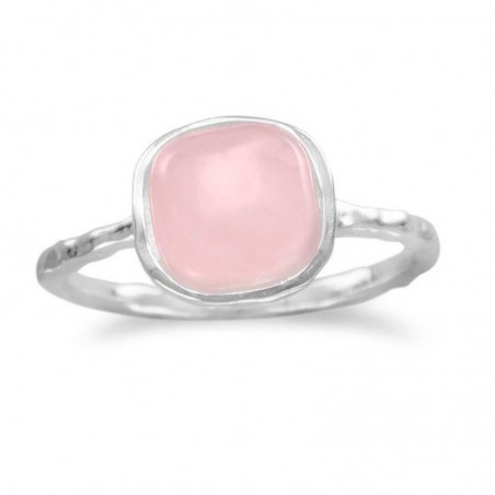 Elegant style Hammered Rose Quartz Gemstone Ring