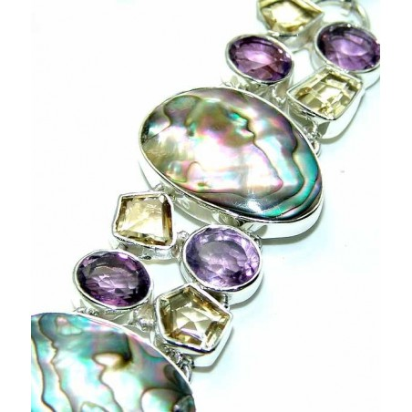 Bracelet with Amethyst Faceted, Citrine Faceted, Abalone Shell Gemstones