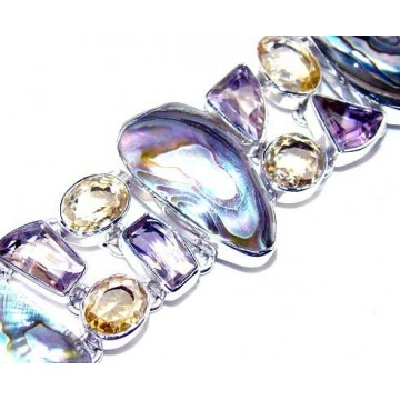 Bracelet with Abalone Shell, Amethyst Faceted, Citrine...