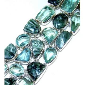 Bracelet with Seraphinite, Green Amethyst Gemstones