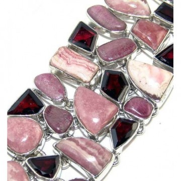 Bracelet with Rhodochrosite, Rhodonite, Garnet Faceted...