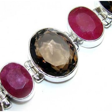 Bracelet with Ruby, Smokey Quartz Gemstones