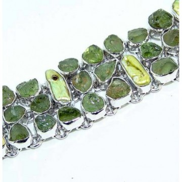Bracelet with Peridot Rough, Biwa Pearl Gemstones