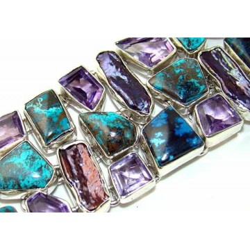 Bracelet with Azurite, Biwa Pearl, Amethyst Faceted...