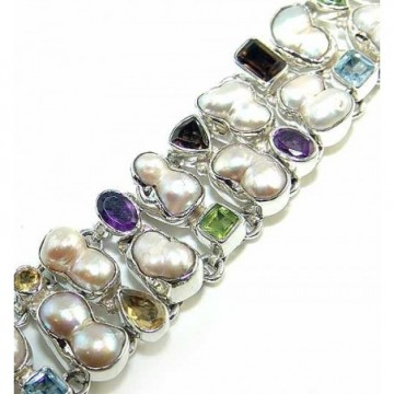 Bracelet with Pearl, Mixed Faceted Stones Gemstones