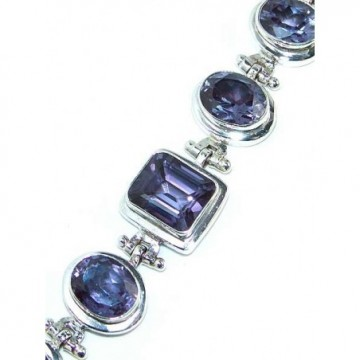 Bracelet with Iolite Faceted Gemstones