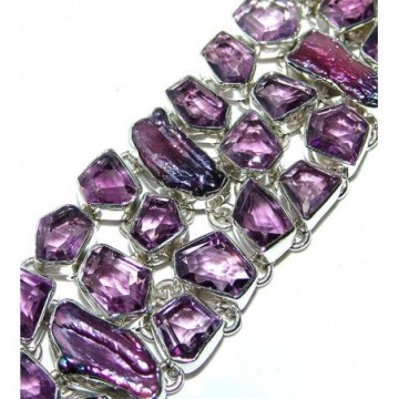 Bracelet with Amethyst Faceted, Biwa Pearl Gemstones