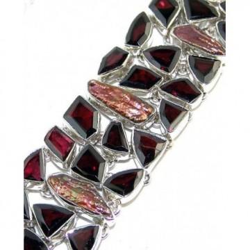 Bracelet with Garnet Faceted Gemstones