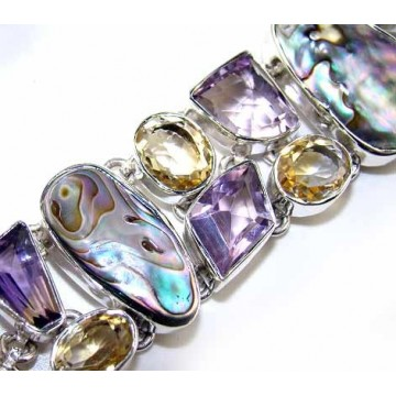 Bracelet with Biwa Pearl, Amethyst Faceted, Citrine...