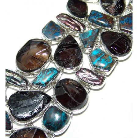 Bracelet with Smokey Quartz, Azurite, Biwa Pearl Gemstones
