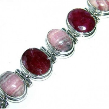 Bracelet with Rhodochrosite, Ruby Gemstones