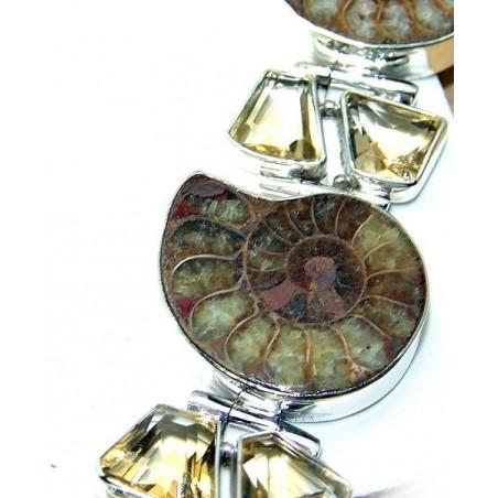 Bracelet with Ammonite, Citrine Faceted Gemstones