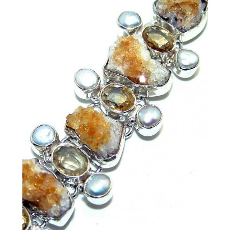 Bracelet with Citrine Rough, Pearl, Citrine Faceted Gemstones