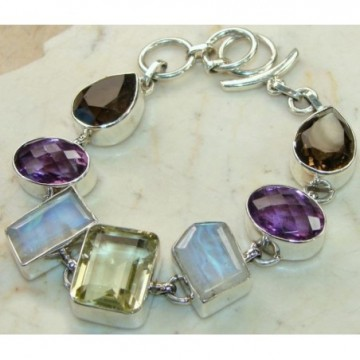 Bracelet with Moonstone, Lemon Quartz, Amethyst Faceted,...