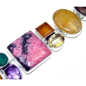 Bracelet with Ruby Zoisite, Sney Quartz, Mixed Faceted...