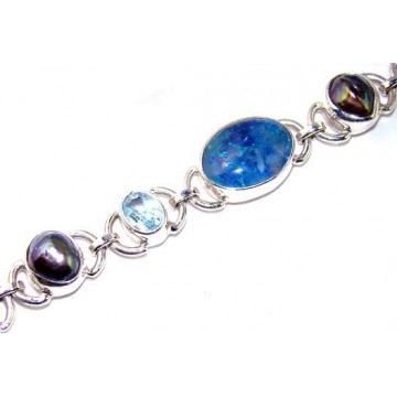 Bracelet with Kyanite, Mixed Faceted Stones Gemstones