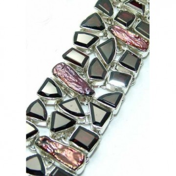 Bracelet with Smokey Quartz, Biwa Pearl Gemstones