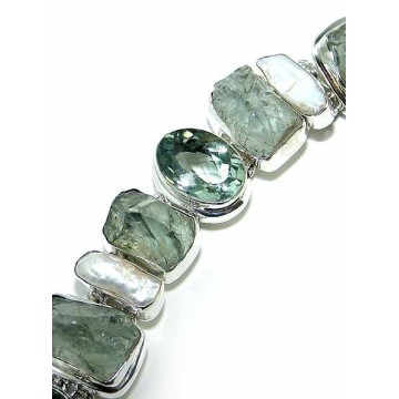 Bracelet with Rough Stone, Green Amethyst Gemstones