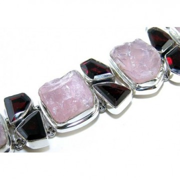 Bracelet with Rose Quartz Rough, Garnet Faceted Gemstones