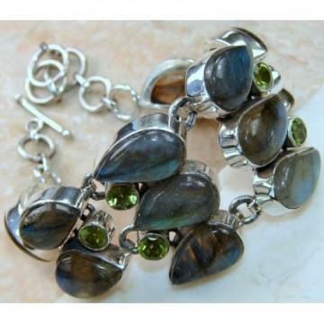 Bracelet with Labradorite, Peridot Faceted Gemstones