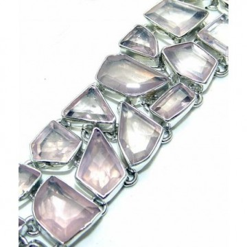 Bracelet with Rose Quartz Fancy Gemstones