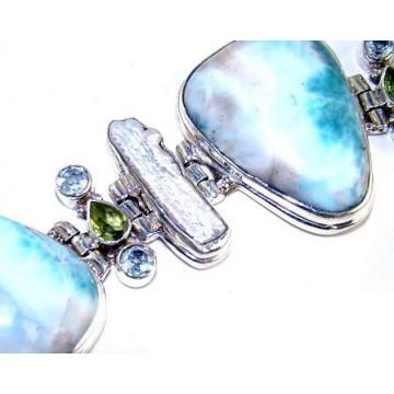 Bracelet with Larimar, Biwa Pearl, Blue Topaz, Peridot...