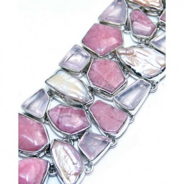 Bracelet with Rose Quartz Fancy, Rhodochrosite, Biwa...