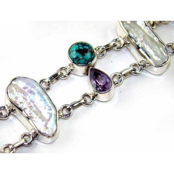 Bracelet with Biwa Pearl, Turquoise, Amethyst Faceted...