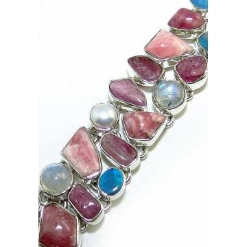 Bracelet with Rhodochrosite, Pearl, Rainbow Moonstone...