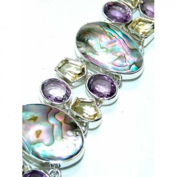 Bracelet with Amethyst Faceted, Citrine Faceted, Abalone...