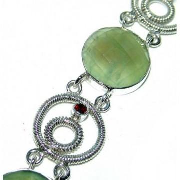 Bracelet with Prenite, Garnet Faceted Gemstones