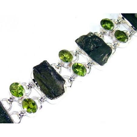 Bracelet with Moldavite, Peridot Faceted Gemstones