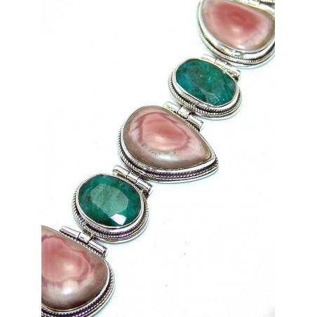 Bracelet with Rhodochrosite, Emerald Gemstones