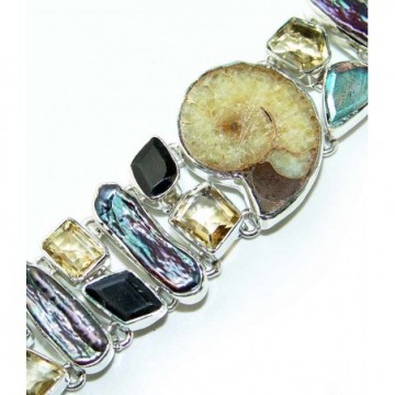 Bracelet with Ammonite, Mixed Faceted Stones, Citrine...