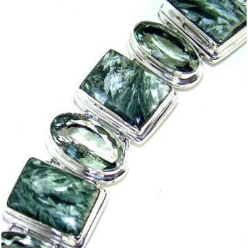 Bracelet with Seraphinite, Green Amethyst Gemstones