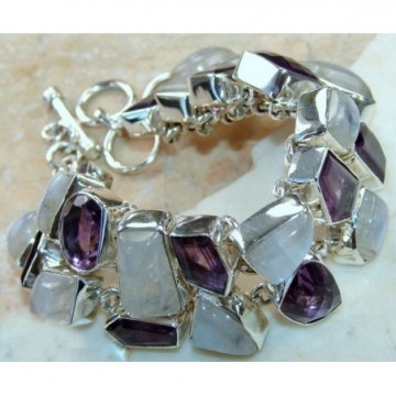 Bracelet with Moonstone, Amethyst Faceted Gemstones