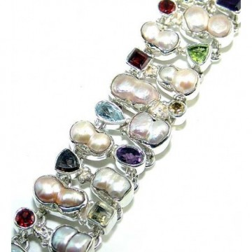 Bracelet with Blister Pearl, Mixed Faceted Stones Gemstones