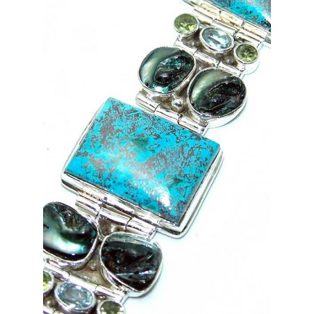 Bracelet with Azurite, Mixed Faceted Stones Gemstones