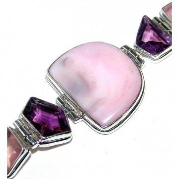 Bracelet with Pink Opal, Amethyst Faceted, Rose Quartz...