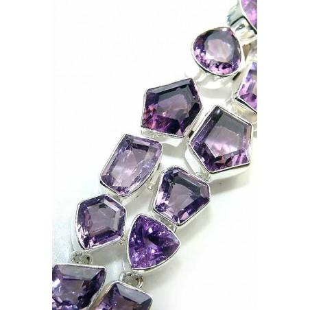Bracelet with Amethyst Faceted Gemstones