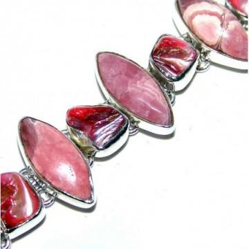 Bracelet with Rhodochrosite, Biwa Pearl Gemstones