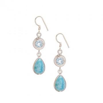 Amazing Design Blue Topaz & Larimar Gemstone Dangle Drop...