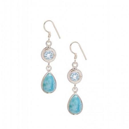Amazing Design Blue Topaz & Larimar Gemstone Dangle Drop Earrings